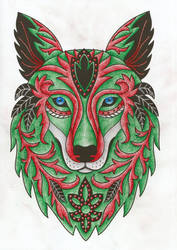 Christmas Wolf Adult Coloring Book Page by desertwind75