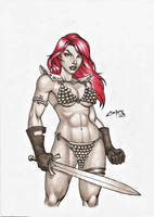 RED SONJA with COPIC MARKERS WARM GRAY !!! by carlosbragaART80