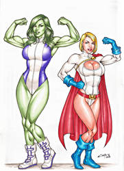 POWERGIRL and SHE HULK SALE ON E-BAY NOW !!! by carlosbragaART80