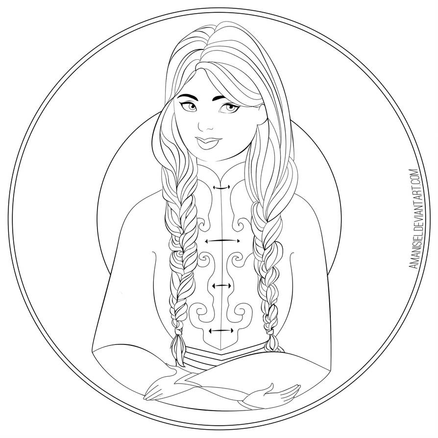 Girl With Braids Coloring Page By Amanisiel On Deviantart
