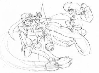 Bridget vs Ranma-chan -commish by Pensuke-kun
