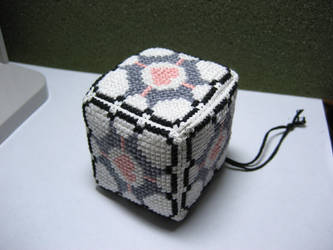 Cross stitched Companion Cube by katiebeth24601