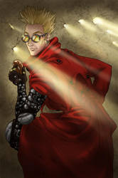 A tall, blond man in a red coat by IlMostroDeiDesideri
