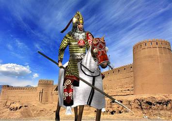Azadan-i-Kirmansahr in front of the Rayen citadel by Gaiiten