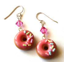 Strawberry Donut Earrings by FatallyFeminine