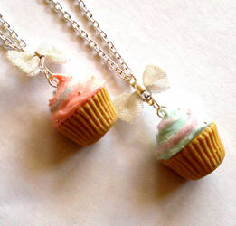 Cotton Candy Cupcake Necklace by FatallyFeminine