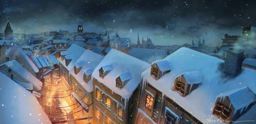 Frosty evening by AkubakaArts