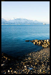 Beach, water and mountain by sirlatrom