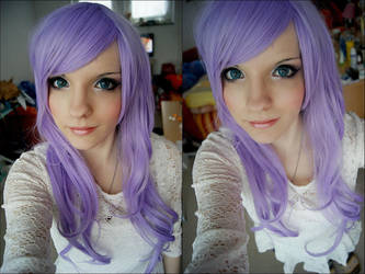 Purple Wig test + Makeup by JessicaUshiromiyaSan