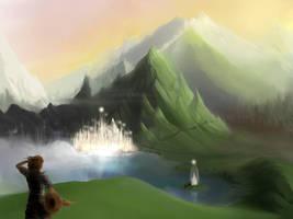 Mountain Lake WIP by TheAstro
