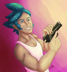 Marlon with a pistol by OminousMoonBlast