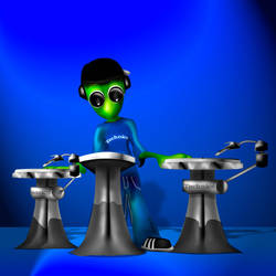 Alien with Turntables by mental-awareness