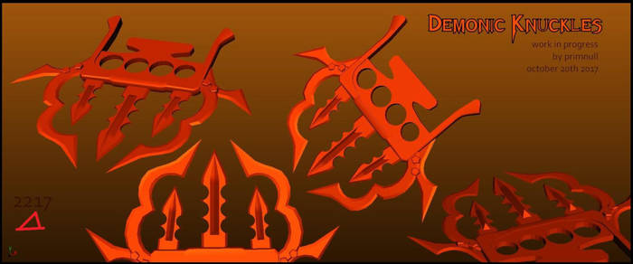 Demonic Knuckles -3d resource wip- by primnull
