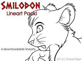 Smilodon-lineart by KaiserTiger