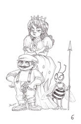 A Plumber, a Tomboy Flower and a Bee by DibuMadHatter