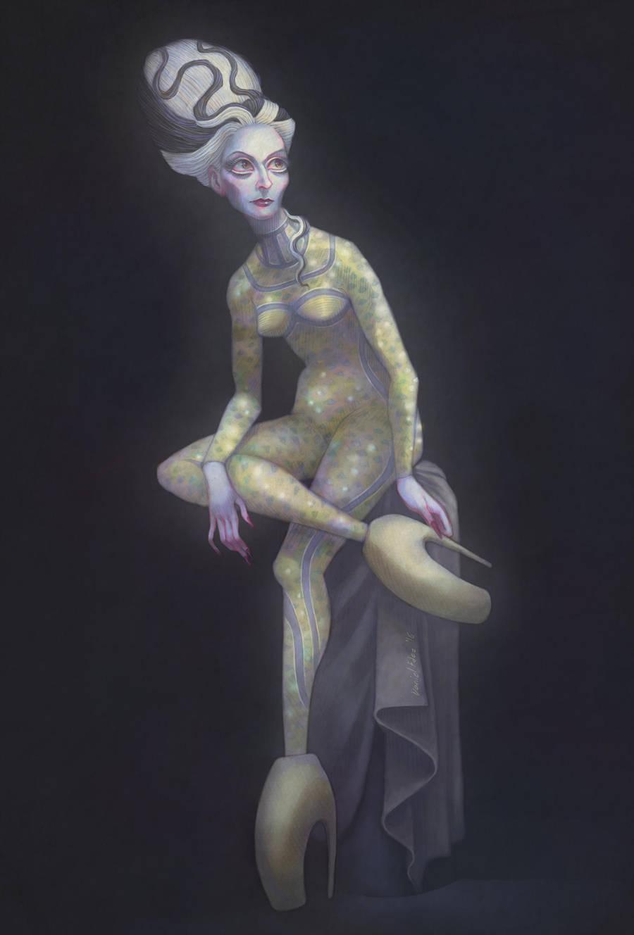Venus putting on sandal by DibuMadHatter