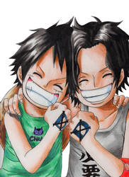 Ace y Luffy - Brothers forever by Eraliz