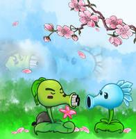 Snow Pea And Gatling Pea by neko-kumicho-chan