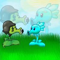 Ice Queen Pea And Gatling Pea by neko-kumicho-chan
