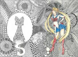 Sailor Zentangle (Sailor Moon FA) by Maihunaa
