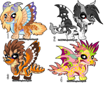 Adoptable Baby Chibi Dragons-OPEN REDUCED PRICE by StephsAdopts
