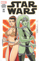Leia and Oola Sketch Cover by BillMcKay