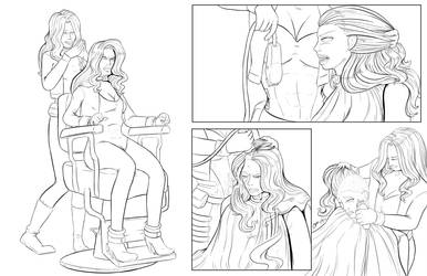 White Canary Shaves Black Canary Part 1 (lineart) by danielwartist