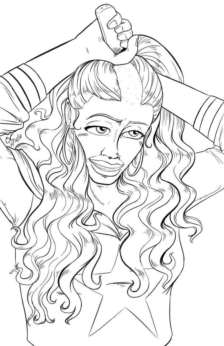 America Chavez shaves her head (lineart) by danielwartist