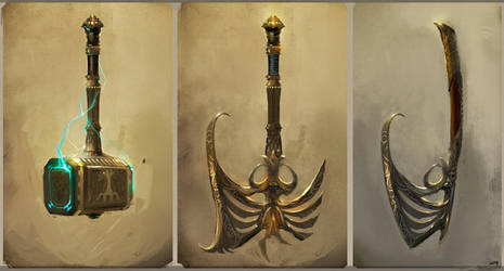 weapon concepts by Okmer