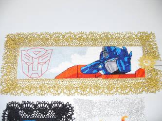 Cross Stitch Bookmark - Optimus Prime by nkfloofiepoof