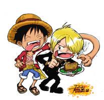 Luffy and Sanji by Zerdajuan