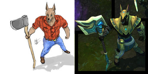 Lumberjack Nasus - Skin Concept by TheDoodleOnThePage