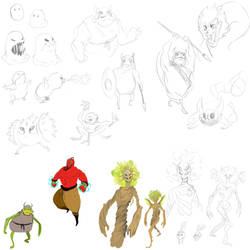 Monster Sketches 01 by TheDoodleOnThePage