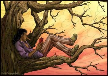Usopp reading in a tree by Chronomorphosis