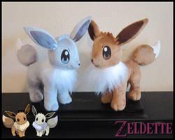 Eevee plushies - Pokemon by Maz-Zeldette