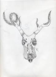 Deer skull w tentacles by RockValley