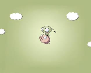 Gir flys on pig...with clouds. by playster