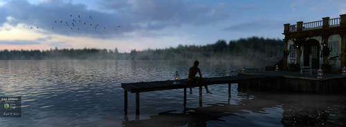 Dusk at the Lakehouse by angela3d