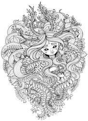 Stars Keeper - coloring page doodle by ForestDiver