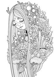 Forest girl - coloring page doodle by ForestDiver