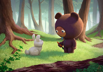 Bear Boy and Bunny by Nico4blood
