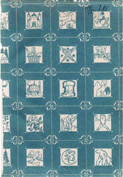 Blue patterned paper texture with image squares by mercurycode