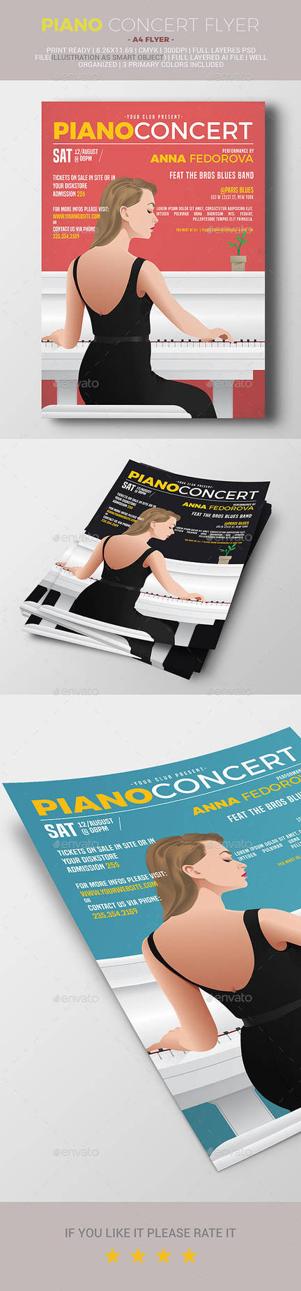 Piano concert flyer by firmacomdesign