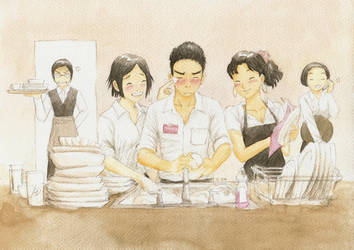 Wash dishes by cocon