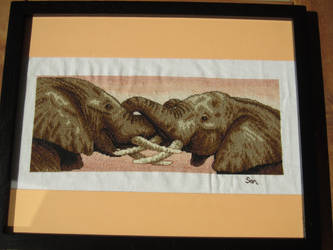 Elephants Hug Cross-Stitch by Santian69