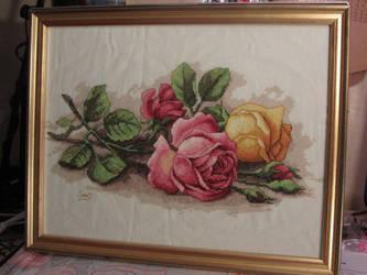 Rose cuttings Cross stitch by Santian69