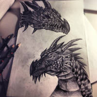 Dragon and Dragon Skull by kazu-ren