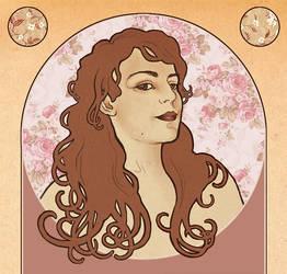 Art Nouveau Self-Portrait by Selladorra