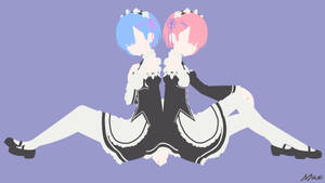 Ram and Rem (Re:Zero) Minimal Wallpaper by Max028