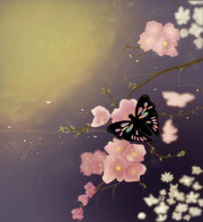 Butterfly and flowers by Emeraldea